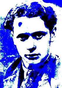 """Dylan Thomas in blue"" digital print by Lidia Chiarelli, Italy"